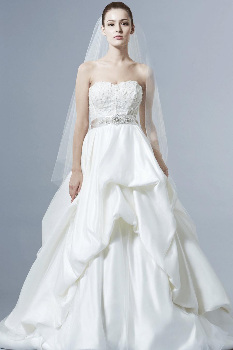 Elegant Flowers Beaded Crystal Sashes Wedding Dresses