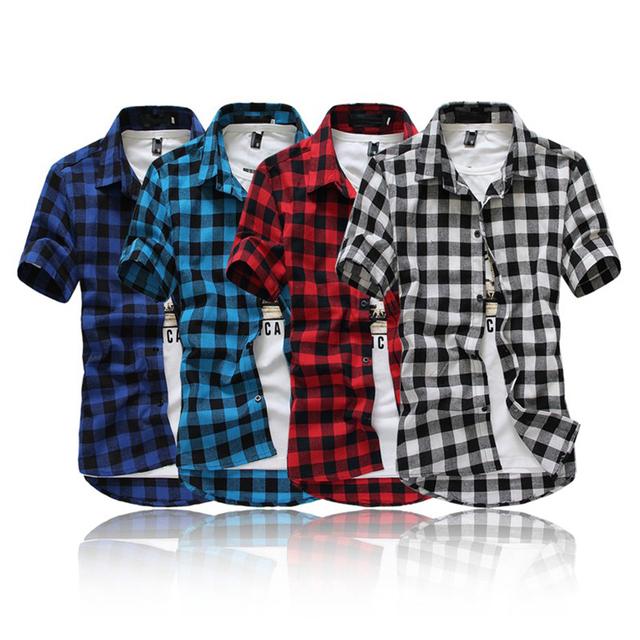 Мода slim fit клетчатую рубашку мужчины британский стиль с коротким рукавом рубашки ...