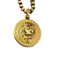 Fashion Personality Round Card Sweater Chain Metal Lion Head Necklace Men Jewelry