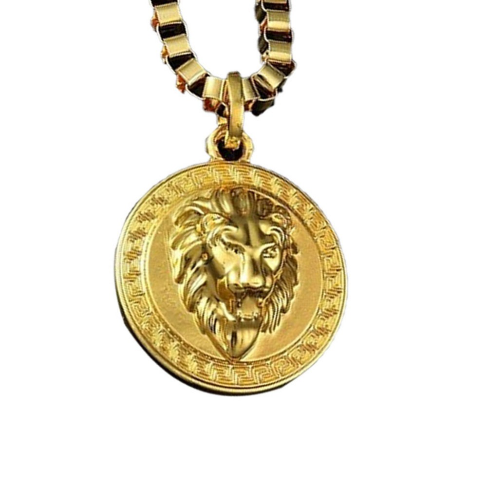 Metal Lion Head Exaggerated Personality Round Card Sweater Chain Charming Jewelry(China (Mainland))