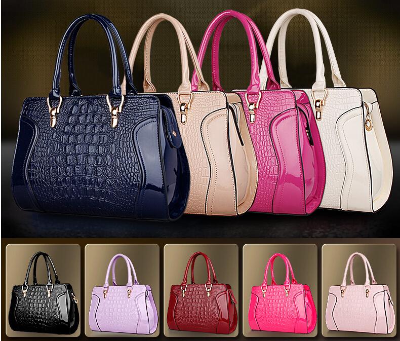 Best Selling New Arrival Fashion Big PU Patent Women Bags Crocodile Grain Lady Fashion Shoulder Bags Girl Handbags H102(China (Mainland))