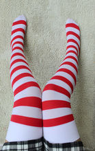 Cosplay red and white stripe HARAJUKU red over-the-knee stockings christmas stockings female