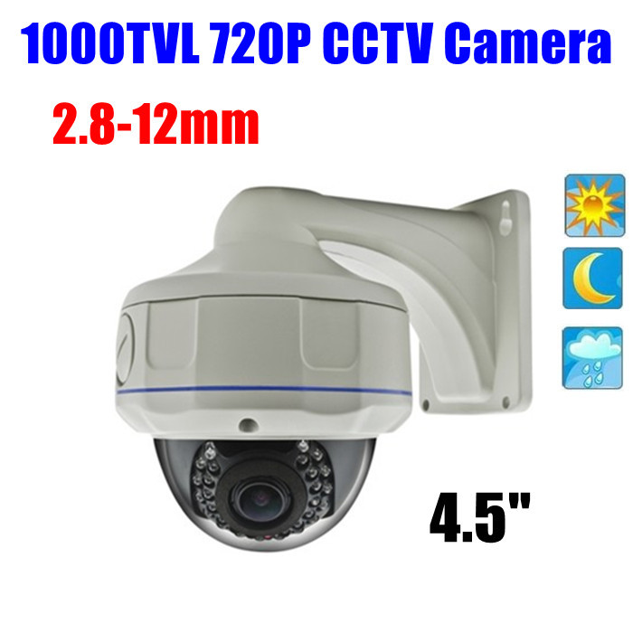4.5 Outdoor Vandalproof Sony 1/3 color IR Nightvision 1000 TVL 720p HD Dome cctv camera OSD <br><br>Aliexpress