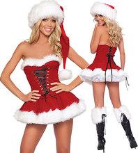 Trajes atractivos de la Navidad Mujeres Vestido de Fiesta Lindo Traje para Damas de Disfraces Cosplay