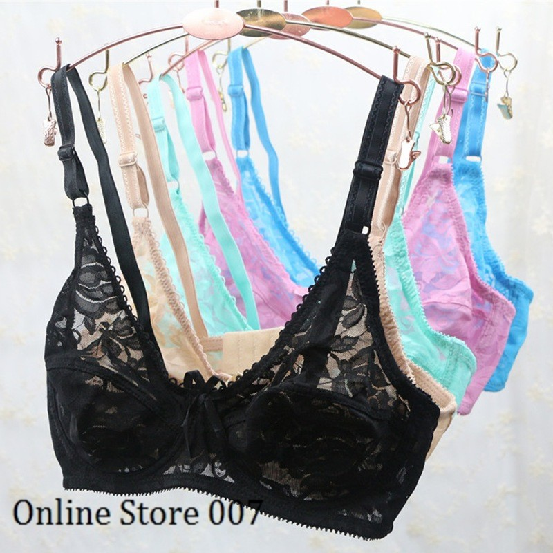 2016 New Sexy Underwear Women Unlined Lace bralette Adjusted Straps Thin Push Up Bras Plus Size Ga3