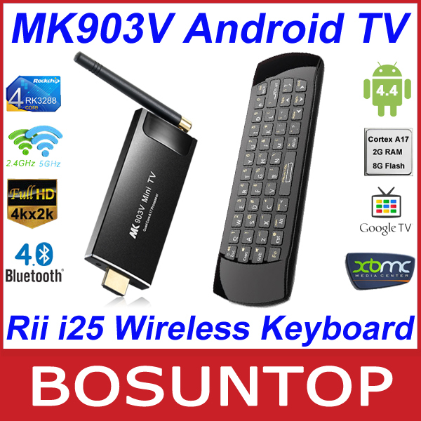 [Rii i25 Wireless Keyboard] MK903V RK3288 Quad Core Cortex A17 Android4.4 Ultra 4K 2G/8G HDMI Bluetooth Android TV Box SticK(China (Mainland))