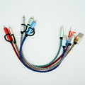 30cm Durable Metal Plug Charger Cord 2 in 1 Micro USB Cable For iPhone 5 5S