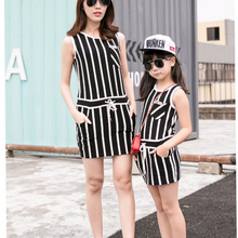 Authentic Mother Daughter Dresses 2016 Striped Dress for Girls and Women Summer Cotton Dress Girls Vestidos Family Clothing