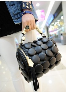 New Arrived Buttons cylinder bag button bag multifunctional women's bucket bag handbag three-dimensional polka dot handbag T01(China (Mainland))
