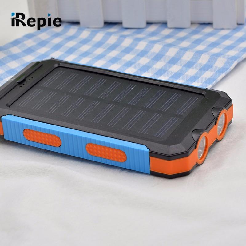 New Portable 10000mAh Solar Power Bank Compass Waterproof External Battery with LED Light Universal Outdoor Powerbank