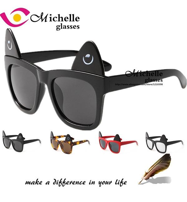New Cute Make Me Meow Cat eye Ear Sunglasses Women Brand Designer Vintage Sun Glasses Retro female Men oculos de sol feminino(China (Mainland))