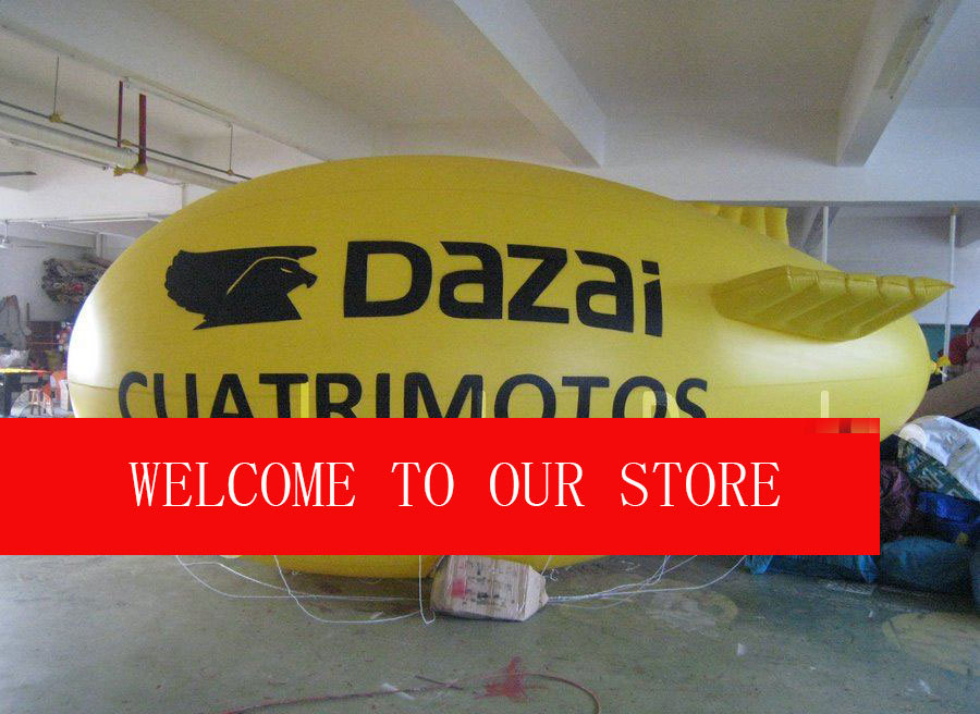 Free Shipping by DHL 13ft Yellow Inflatable Advertising Airship/Inflatable Blimp/Solid color with Big letters LOGO for Events(China (Mainland))