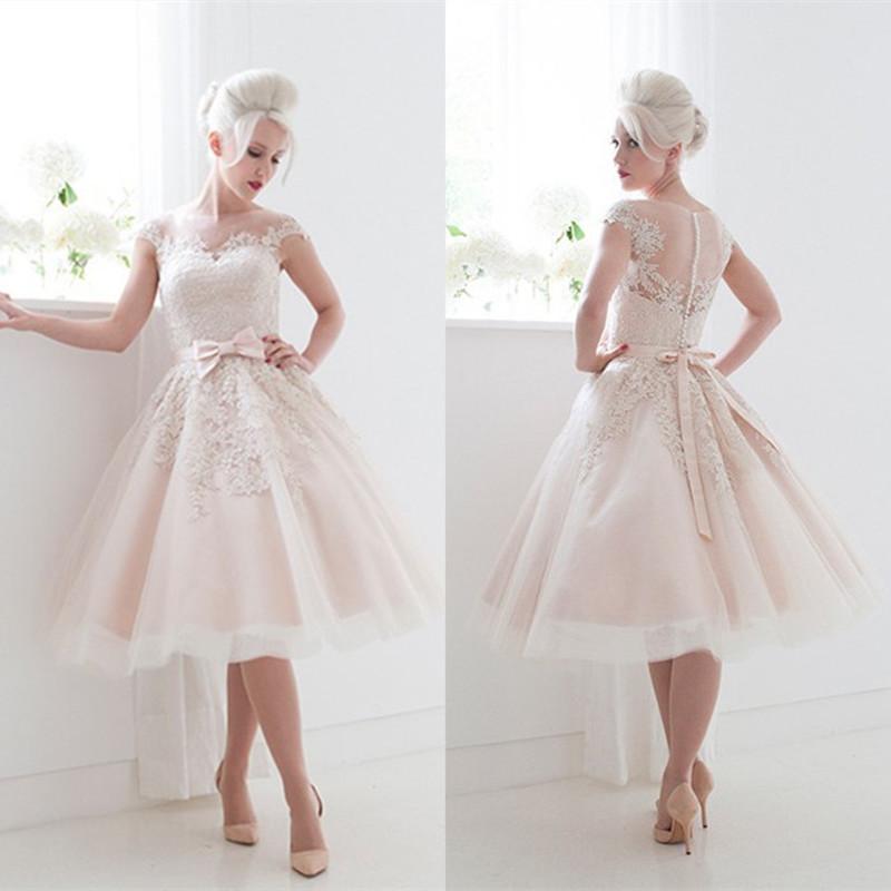 Hot Sale Lace Appliques Sash Short Wedding Dress 2016 Vestido Noiva Curto S22