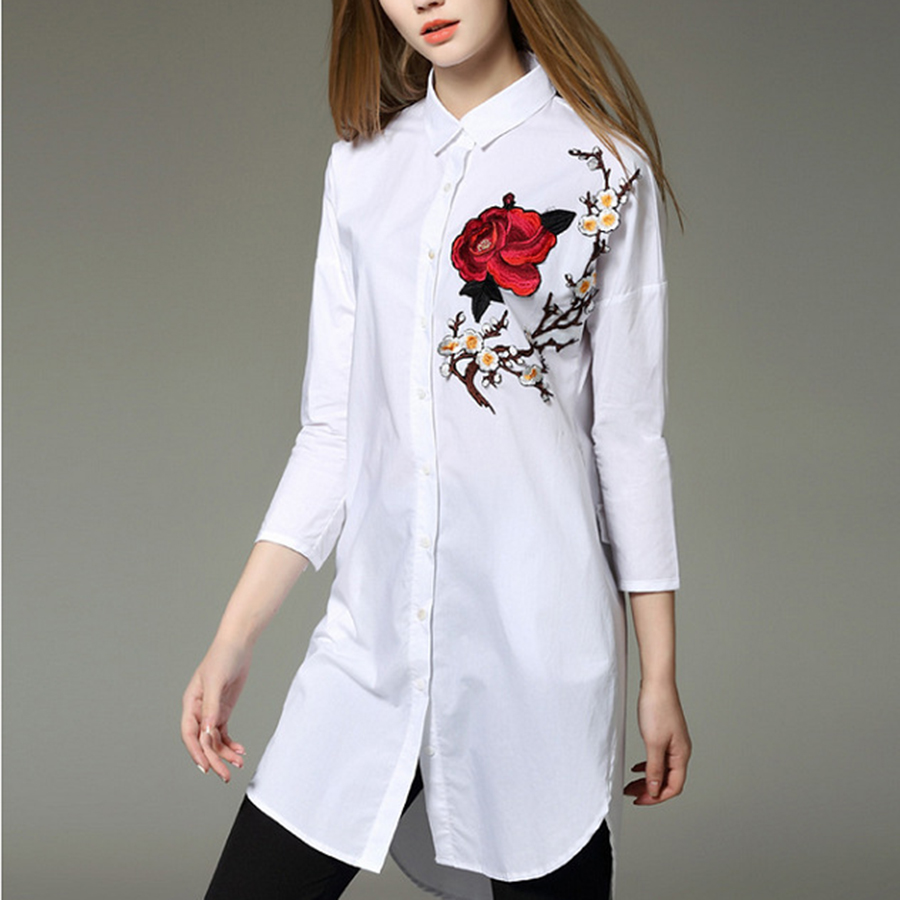Model Summer Women Office Work Wear Blouse And Shirt Solid Formal Turn Down