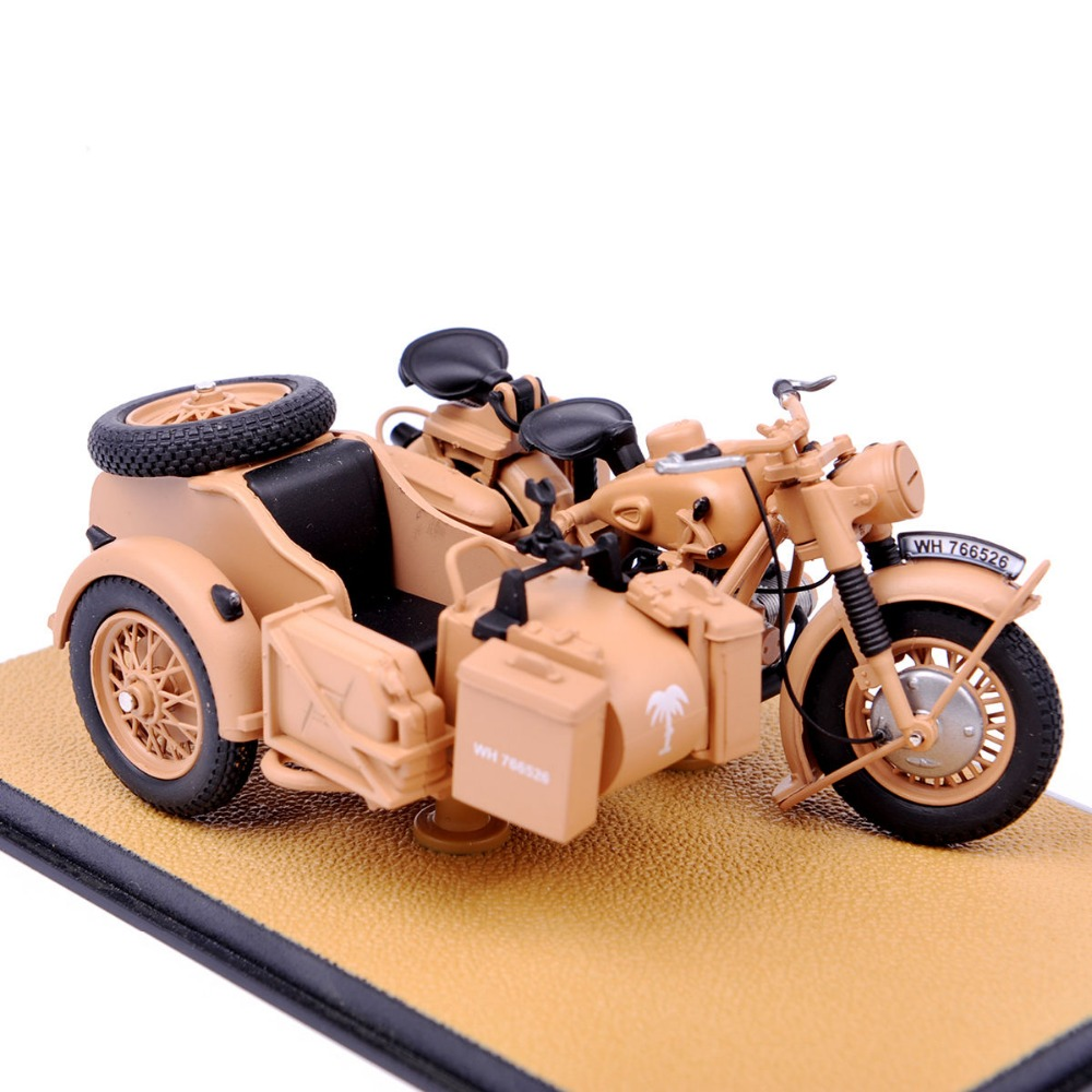 Collectible Edition 1/24 Atlas 1939-1945 R75 Yellow Color Motorcycle With Sidecar Combination Model Collection Kids Toys Gifts D