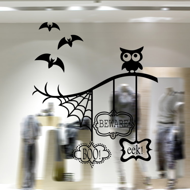 Window Stickers OWL Decal Home Decor for kids rooms Plane Wall Sticker Appliances Hallowmas Decals Fashion 2016 funny poster(China (Mainland))
