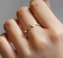 Fashion jewelry accessories Simple Wavy electrocardiogram finger ring best and nice gift for women girl wholesale J-78