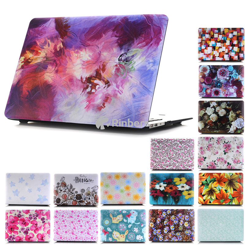 Latest Multicolor Flower Print Hard Case for Macbook Air Pro Retina 11 12 13.3 15.4 Inch Laptop Case + Keyboard Cover 17 Colors(China (Mainland))