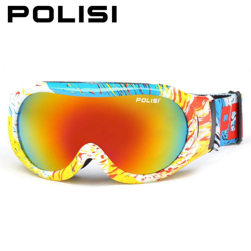 POLISI Winter Kids Ski Goggles Dual Layer Lens Anti-Fog Skiing Glasses Children UV Protection Snow Snowboard Skate Sport Goggles