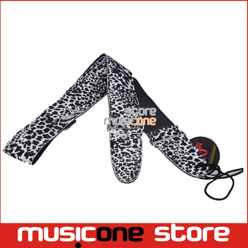 New the grainof leopard metal buckle adjuster Adjustable Leather Acoustic Guitar Strap bass(China (Mainland))