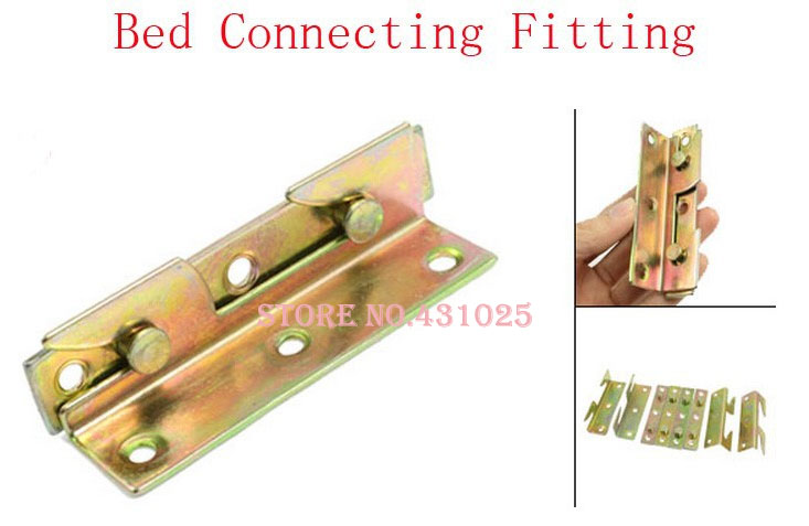 Best Promotion Wholesale Price Brass Tone Metal Screw Mounted Furniture Bed Connector Fitting 8Pcs/lot(China (Mainland))