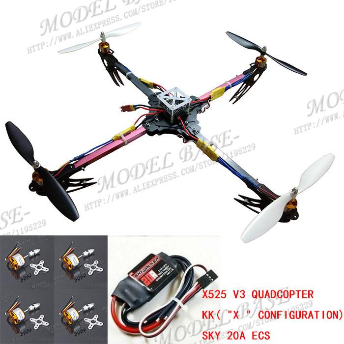 X525 V3 QuadCopter Glass Friber Folding ARF Kit &amp; KK Flight Controller Multicopter&amp;Brushless 20A ESC <br><br>Aliexpress