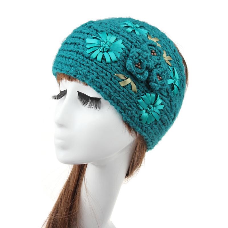Witer Head Wraps Hairband Winered Crochet Knit Turban Headband 3D Flower European Autumn Woman Hairband Diademas De Lana13 Color(China (Mainland))