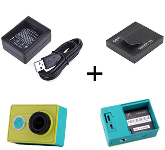 Xiaomi yi Action Camera Accessories 1010mAh Xiaoyi Battery + Xiao yi USB Dual Port Battery Charger<br><br>Aliexpress