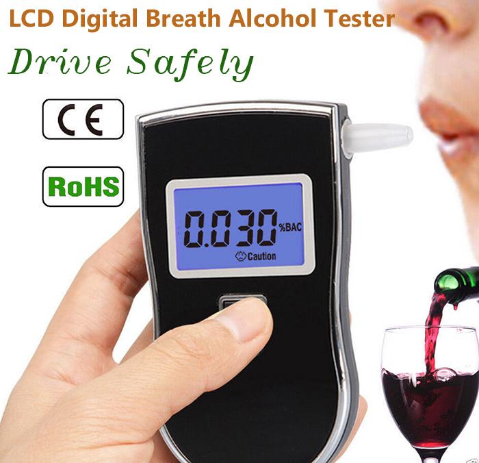 2015 новая горячая распродажа профессиональный полиция цифровой тестер спирта дыхание алкотестер AT818 бесплатная доставка + 10 шт. мундштуки