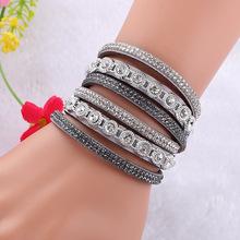 New Multilayer crystal Wrap bracelet Rhinestone deluxe bracelet Double wrap leather bangle Pulseiras(China (Mainland))