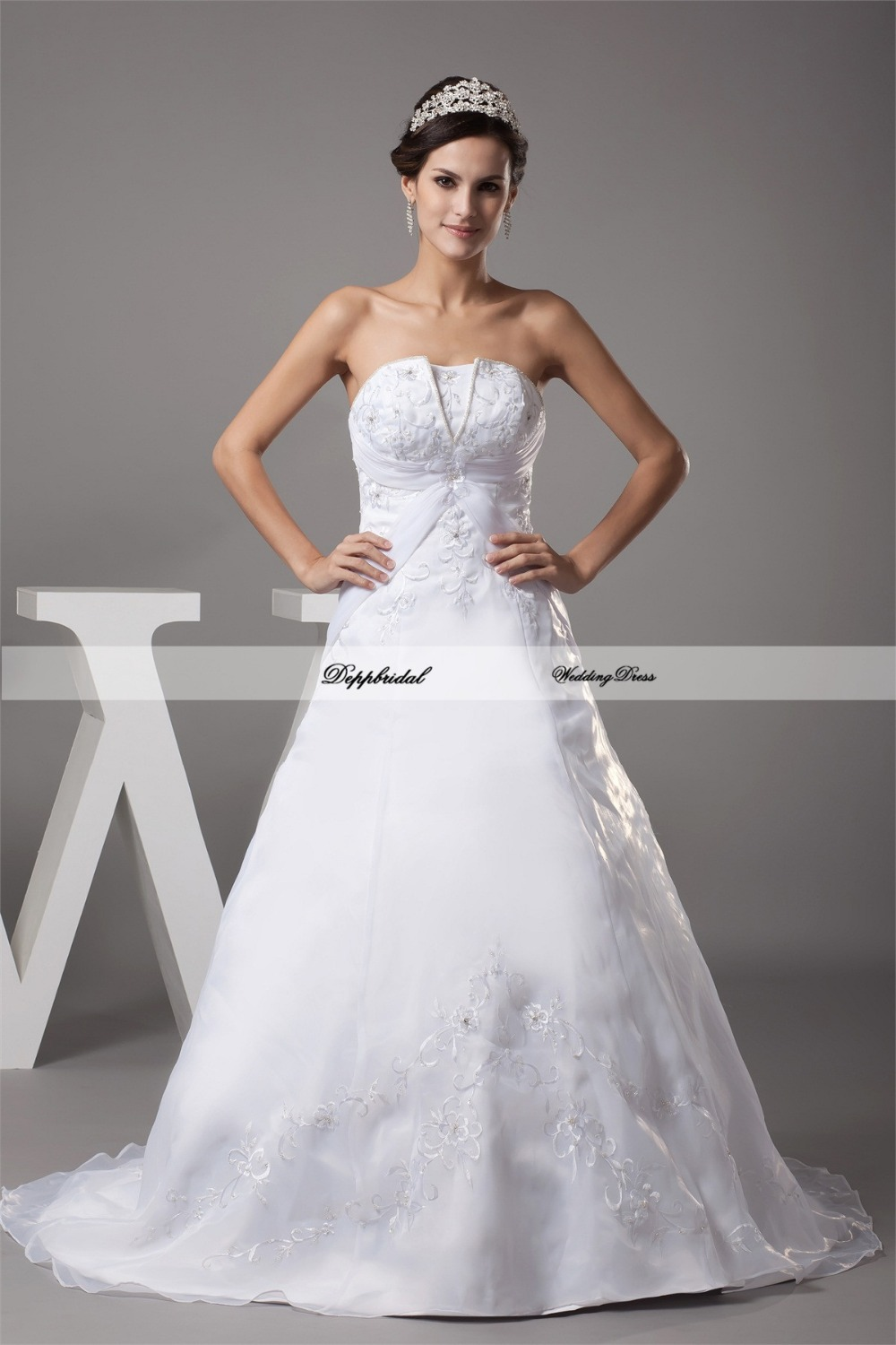 Wholesale wedding dress satin a line embroidery beading for Satin a line wedding dress