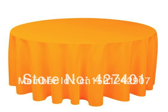 """Hot Sale 132 """" Orange Round Table Cloth Polyester Plain Table Cover For Wedding Events & Party Decoration(China (Mainland))"""