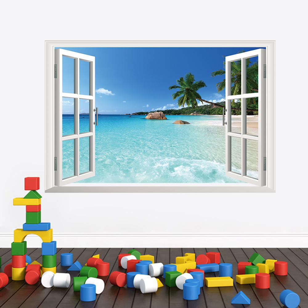 Free shipping coastal landscape Ocean Beach Coconut trees window wall stickers room decor 3D stickers home decor (China (Mainland))