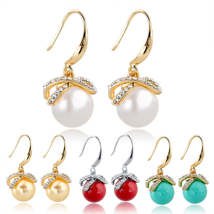 2015 Summer Style Pearl Jewelry Crystal Drop Earrings For Women Vintage Gold Silver Earrings Wedding Statement Brincos SER140092(China (Mainland))