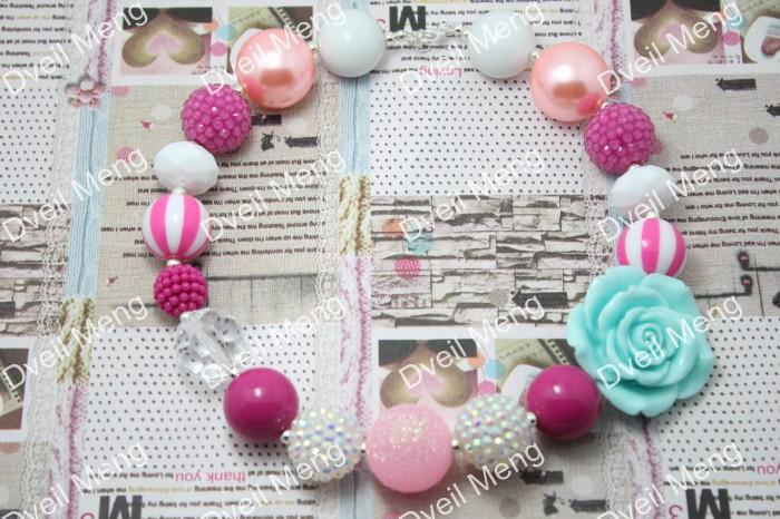 20pcs/lot Hot pink, Blue Necklace, Kids Necklace, Flower Chunky Necklace, Chunky Bead Necklace, Child Girls Necklace<br><br>Aliexpress