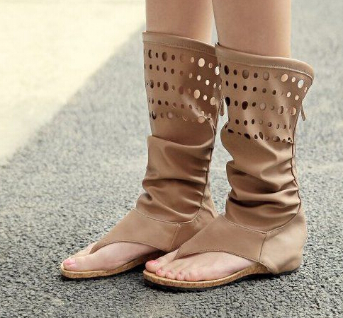 Fashion Women Gladiator T-straps Flat Sandals Ladies Casual Flat Summer Boots Shoes BEIGE+KHAKI 2015 Brand New Rome Women Sandal