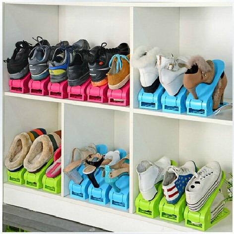 2pcs lot shoes rack shoes organizer space saving shoes tree stand shoe storage holder adjustable - Shoe rack for small space set ...
