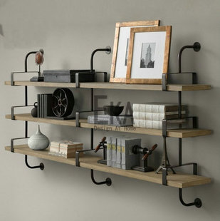 Vintage iron shelf partition frame rack on Wall multilayer frame wood wall rack(China (Mainland))