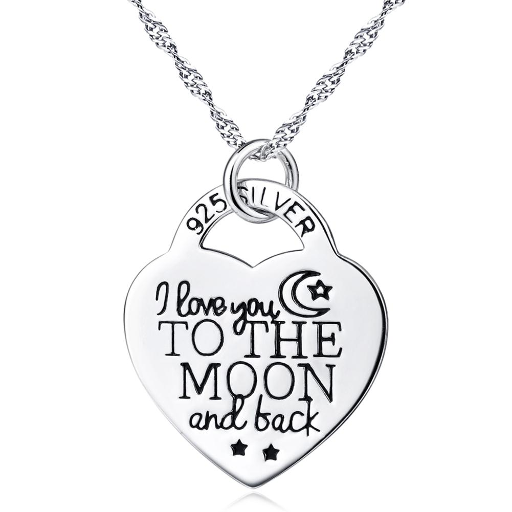 New Arrival 925 Sterling Silver Jewelry I Love You To The Moon And Back Heart Personalized Pendant Statement Choker Necklace(China (Mainland))