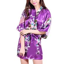 2015 Women Robe Pajama Japanese Yukata Kimono Satin Silk Vintage Bathrobe Nightgown Sexy Lingerie Sleepwear S M L XL XXL(China (Mainland))