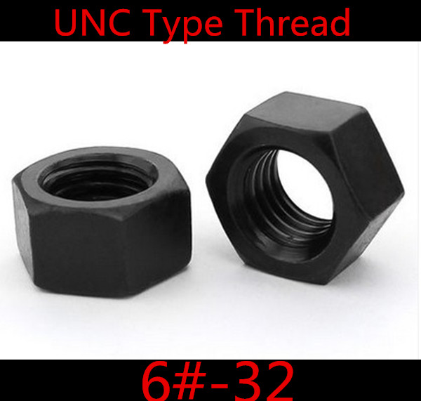 100pcs High Quality Steel With black UNC Thread  6#-32 Hex Nut<br><br>Aliexpress