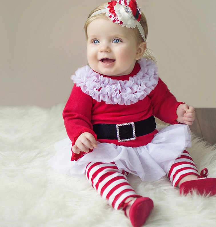 Baby Girls Clothes Set 2015 Cute Toddler Little Girls Christmas Clothing Sets New Year Dress+Bow Striped Pants Boutique Outfit(China (Mainland))