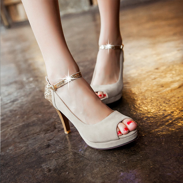 2015 new fashion popular high-heeled sandals fish head tide products metal decoration sandals breathable comfort sandalsE108(China (Mainland))
