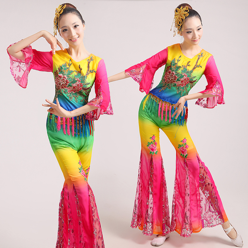 Chinese classical dance costumes yangko dance red Embroidery costumes Duanghuang flying dance drum wear stage performanceclothes(China (Mainland))