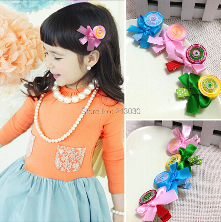 20pcs/lot Free Shipping Girls Hair Fringe Clips with Goody lollipop Accessory of handmade 4 colors(China (Mainland))