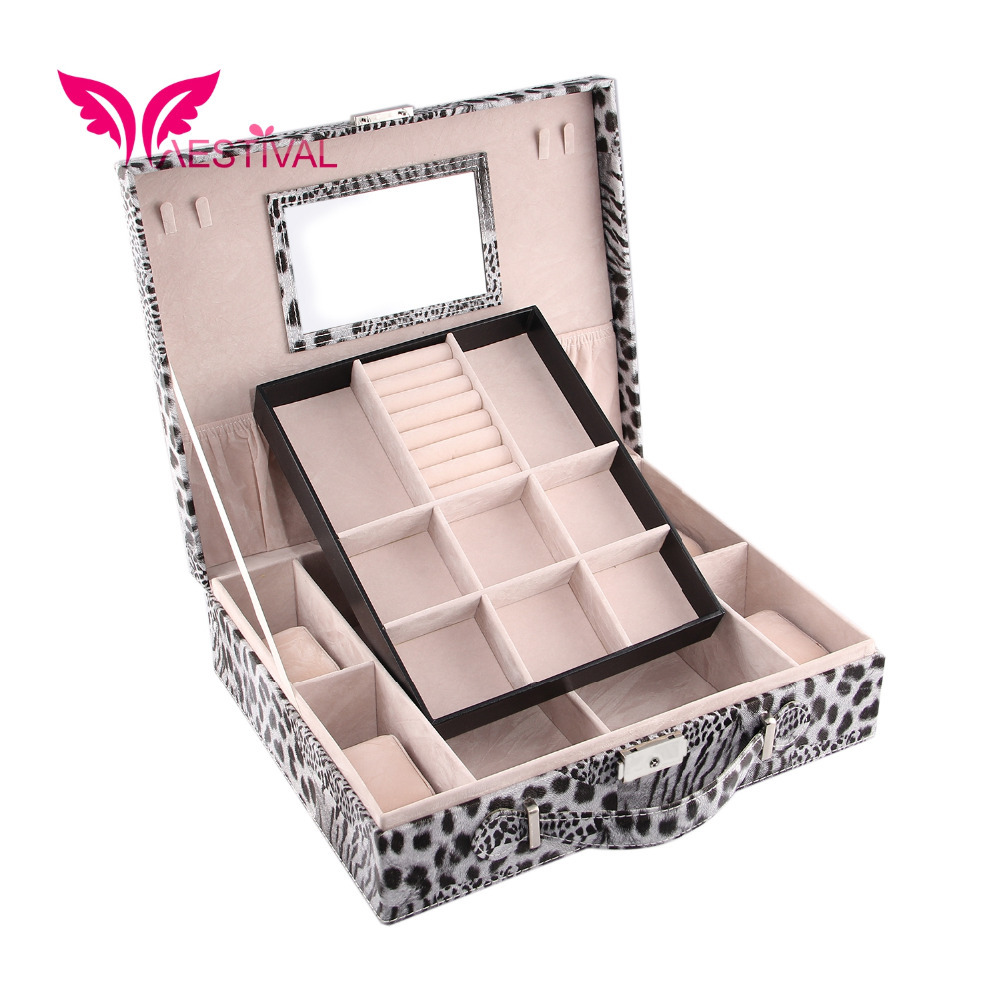 2015 New Arrival,Jewelry Box Leopard Printing Travel Case Storage With Lock (Black) Free Shipping(China (Mainland))