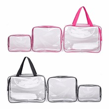Hot 3pcs Clear Portable Makeup Cosmetic Toiletry Travel Bath Wash Storage Pouch Transparent Waterproof Bag Organizer Make Up Bag(China (Mainland))