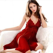 Sexy Sleepwear Red Lace Lingerie Nightwear Gown Dress Pajamas Sex Teddy