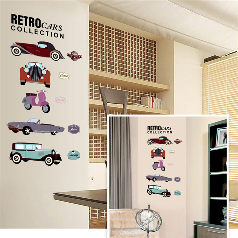 7213^ retro cars collections wall stickers crazy fans room decor pvc children wall art diy boys girls kids room car sticker(China (Mainland))