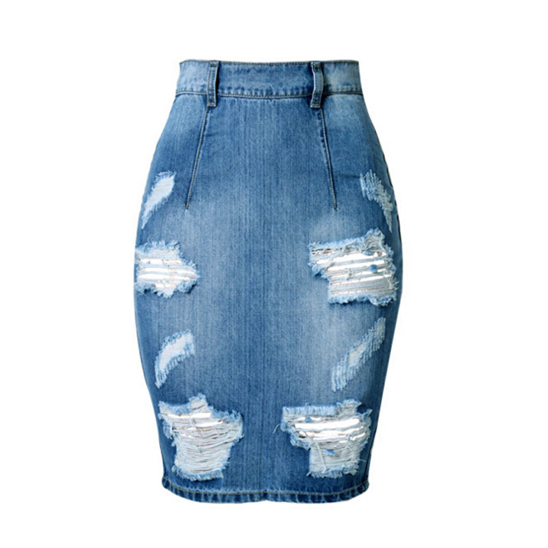pencil skirt jupe en jean crayon saia women 2016 summer casual split jeans skirts knee length. Black Bedroom Furniture Sets. Home Design Ideas